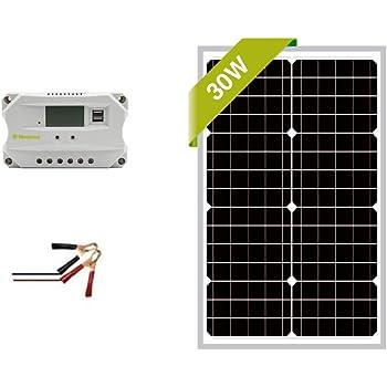 Newpowa 30w Watt 12v Solar Panel + PWM 10A 12v Smart Charging Controller Regulator