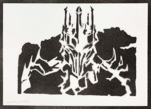 Poster Sauron El Señor de Los Anillos Grafiti Hecho a Mano The Lord of the Rings Handmade Street Art - Artwork