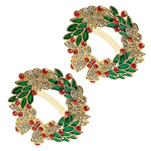 ABOOFAN Corona de servilletas, anillos de Navidad, corona de diamantes de imitación, servilletas, hebillas, decoración de mesa de comedor, suministros de boda, 2 unidades