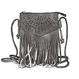 Kandharis Damen Umhängetasche Schultertasche Minibag Ethno CrossOver Tasche mit Fransen geometrischen CutOut Muster GB-13 Anthrazit