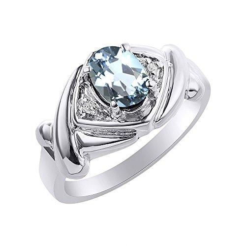 Juego de anillos de diamante y aguamarina en oro blanco de 14 K – XO Hugs & Kisses – Anillo de piedra de nacimiento de color