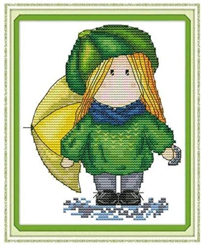Cross Stitch Embroidery Crafts Beginner kind Needlepoint Kit Meisje in groene jurk 40x50cm volwassen diy kruissteek geteld kits gestempeld kit creatieve cadeaus voor huisdecoratie