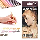12 Skin Tones Colored Pencils Oil Based Pre-sharpened Drawing Pencils for Beginner Artist Coloring Book Drawing Sketching Art Project - Portrait Set