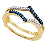 Sonia Jewels Size 5-10k Yellow Gold Round Blue Diamond Ring Guard Wrap Enhancer Band (1/5 Cttw)