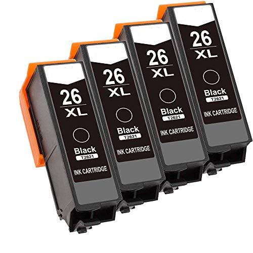 Ouguan® - Cartucce d'inchiostro compatibili per Epson 26 26XL per stampanti Epson Expression Premium XP-510 XP-520 XP-600 XP-605 XP-610 XP-615 XP-620 XP-625 XP-700 (4 nero)
