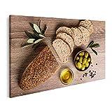 islandburner Bild auf Leinwand Brot mit Oliven und