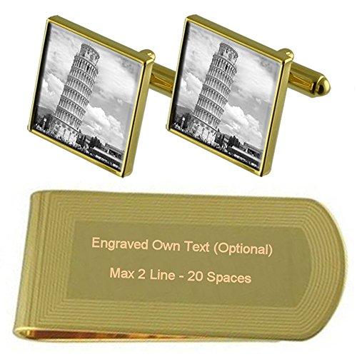 Italia Torre de Pisa de tono Oro gemelos Money Clip grabado Set de regalo