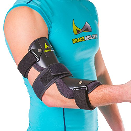 BraceAbility Cubital Tunnel Syndrome Elbow Brace   Splint to Treat Pain from Ulnar Nerve Entrapment, Hyperextended Elbow Prevention and Post Surgery Arm Immobilizer - M (MEDIUM / LARGE)
