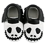 Bebila Baby Boys Girls Shoes Genuine Leather Soft Sole Prewalkers Toddler Cute Pumpkin Halloween Fringe Baby Moccasins (13cm(6-12months), Black1)