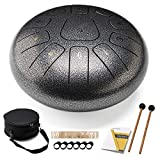 HOPWELL Steel Tongue Drum 10 Inches 11 Notes - Percussion Instruments - Hand Pan Drum with Drum Mallets and Carry Bag, C Major