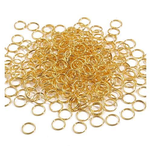 ENDFF Anillos de salto abiertos de metal con doble lazo para hacer joyas, para hacer manualidades, pulseras, pendientes para manicura (color: oro, tamaño: 5 mm aproximadamente 500 piezas)