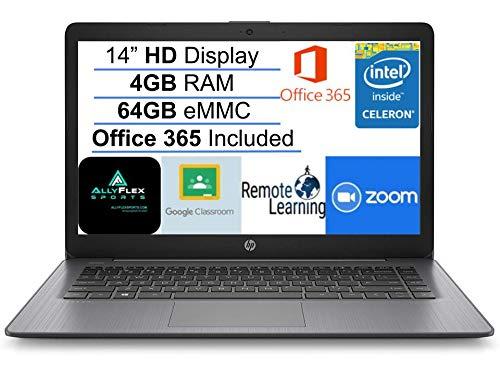 Newest HP Stream 14' HD SVA Laptop Computer, Intel Celeron N4000 Processor, 4GB RAM, 64GB eMMC Flash Memory, 1-Year Office 365, HDMI, Bluetooth, Windows 10, Black, AllyFlex MP, Online Class Ready