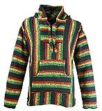 Funny Guy Mugs Premium Baja Hoodie Sweatshirt Pullover Jerga Poncho (Rasta Mon, Small)