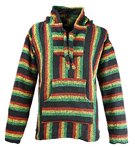Funny Guy Mugs Premium Baja Hoodie Sweatshirt Pullover Jerga Poncho (Rasta Mon, Medium)
