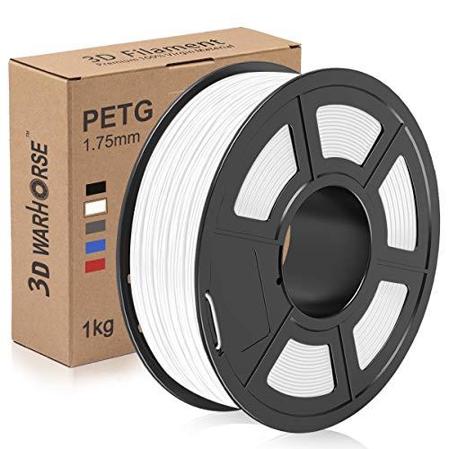 PETG Filament, 1.75mm 3D Printer Filament, PETG 3D Printing 1KG Spool, Dimensional Accuracy +/- 0.02mm, White