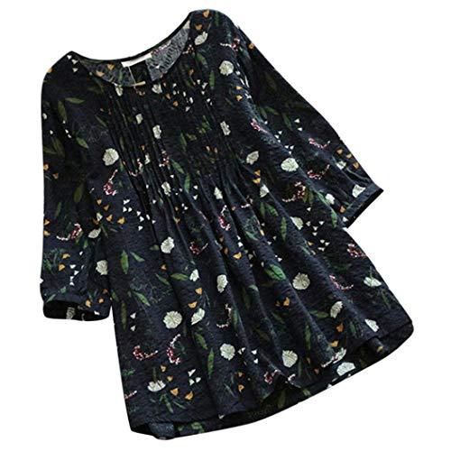 VJGOAL Femmes Grande Taille Top Femme Dames Trois Quarts Manches Blouse LâChe Plissé Manches O Neck Vintage T Shirt(FR-54/CN-5XL,Marine