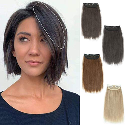 DeeThens 10 Inches Clips in Hair Piece Synthetic Short Straight Hair Piece Invisible Hairpin Hair for Thinning Hair Adding Hair Volume Fluffy Natural...