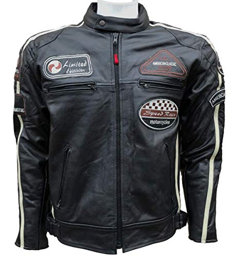 BOS Herren Lederjacke, Echtes Leder, oldschool Design, Antik-Look, ausgewaschene Optik, Retro-Stil, Biker-Jacke, (XL)