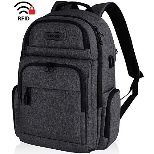 KROSER Reise Laptop Rucksack 15,6 Zoll Wasserdicht Business Schulrucksack Backpack mit Hartgeschältem Sicherheitsraum und RFID-Taschen für Arbeit/College/Männer/Frauen-Holzkohle Schwarz MEHRWEG