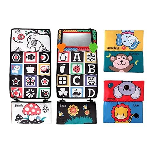 Espejo de piso Tummy Time, juguete de espejo de piso para bebé Tummy Time, juguetes sensoriales Montessori, alto contraste en blanco y negro, para asiento de coche, cochecito de juguete, regalos para