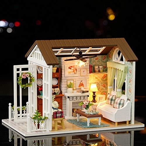 Uxsiya Adorable casa de muñecas Hecha a Mano Bricolaje decoración de la Oficina del Regalo de la casa de Bricolaje para el hogar(Good Time, Animal)
