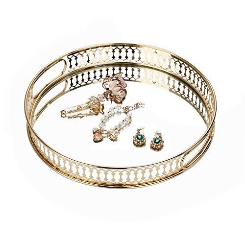 SUMTREE Bandeja cosmética de metal y cristal con 2 asas, para joyas y botellas de perfume, decoración para dormitorio, cuarto de baño y tocador (redondo, dorado)