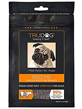 TruDog Feed Me Crunchy Munchy Beef Bonanza Dog Food - Real Freeze-Dried Raw Beef Superfood - 14 oz - Rich in Protein - Includes Omega-3 - Grain Free - No Fillers Preservatives or Coloring