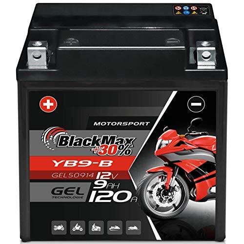 BlackMax YB9-B Motorradbatterie GEL 12V 9Ah Batterie YB9-BS CB9-B GM9Z 12N9-4B-1