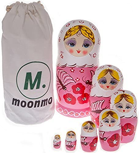 descuento online Moonmo 7pcs Beautiful Handmade Wooden Wooden Wooden Russia Nesting Dolls Gift Russian Nesting Wishing Dolls oro Hair Matryoshka Traditional. by Moonmo  mejor servicio