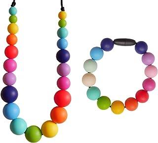 Rainbow Juego Collar y Pulsera Mordedores Silicona para Bebés Lactantes, sin BPA, Set Regalo