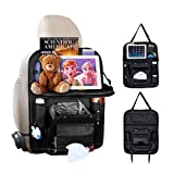 RITZER Car Back Seat Organizers and Storage | Kick Mats Seat Back Protector | Car Seat Organizer Backseat Kids | Foldable Table Tray Car Storage PU Leather Travel Accessories | Black 1 Piece