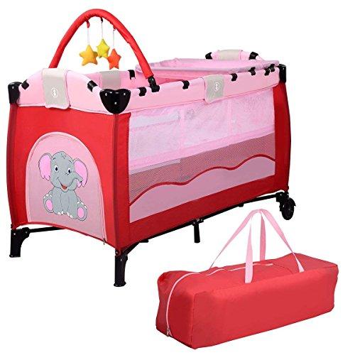 COSTWAY Lettino da Viaggio Lettino da Campeggio per Bambini Culla Neonato, Incluso Materasso + Accessori, 120 x 60 x 78 cm (Rosa)