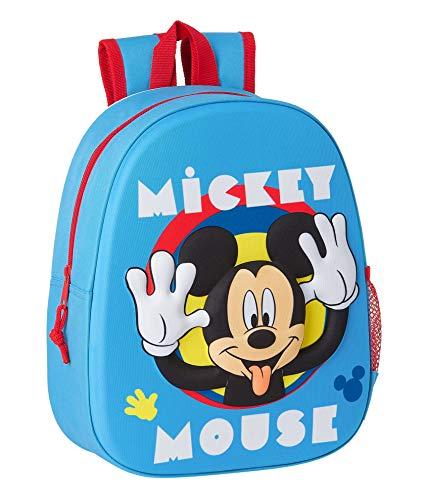 Safta Mochila Diseño 3D Adaptable a Carro de Mickey Mouse Clubhouse, 270x100x320mm, Azul Claro, M (M890)