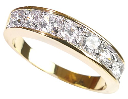 Free Engraving! Ah! Jewellery 0.34CT Women's Channel Set Half Eternity Ring Band, Crystals From Swarovski. Gold Filled, UK Guarantee: 3µ, Stamped GL