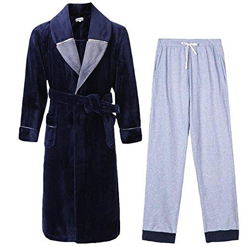 NIGHTSLEEP Herren Bademantel + Hosen Flanell Stoff Herren Pyjamas Set Herbst/Winter Pyjama Lose Langarm Nachthemd, a51-b, XXXL