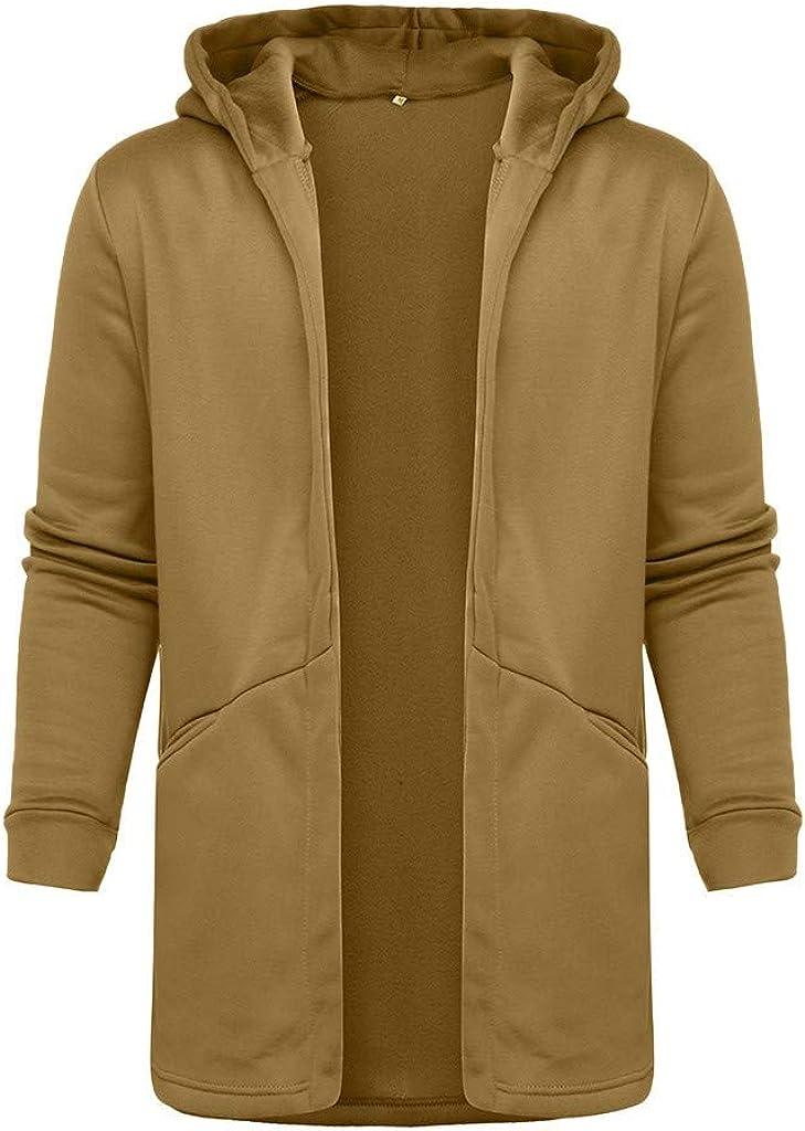 MODOQO Men's Long Cardigan Hooded Loose Fit Sweatshirts Outwear Jacket Coat