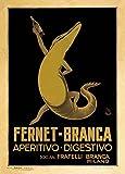 Vintage Beers, Wines and Spirits FERNET-BRANCA APERITIVI DIGESTIVO, MILANO, ITALIA, 1930. 250gsm Gloss Art Card A3 Reproducción Poster