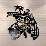 BFMBCHDJ Estados Unidos Florida State Cityscape Reloj de Pared Decoración para el hogar Vinyl Record Reloj de Pared The Sunshine State In God We Trust USA Travel Gift