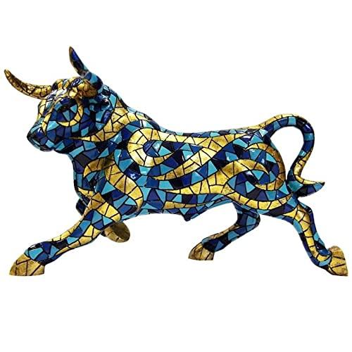 Laure TERRIER Statua di Toro Carnevale, in Mosaico Barcino, Lunghezza 32 Centimetri. Dipinto a Mano, per Collezione o Decorazione