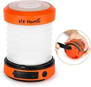 ThorFire LEDランタン キャンプライト 非常灯 手回し充電 USB充電 電池不要 折り畳み式 軽量 ポータブル 高輝度 アウトドア用品 緊急停電対策 防災グッズ CL01