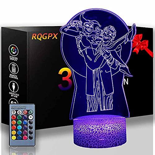 Lámpara de escritorio The Joker 3D Glow LED Night Light Inspiración 16 colores Lámpara de ilusión óptica Sensor táctil para el hogar Fiesta Festival Decoración Gran Idea Regalo