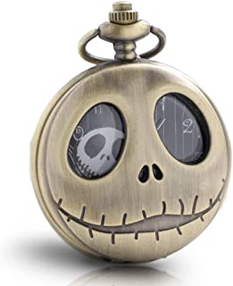 1x Vintage Skeleton Nightmare Before Christmas Pocket Watch with Chain Necklace for Boys Women Kids Mens Pocket Watch Xmas Birthday Gift… (Bronze)