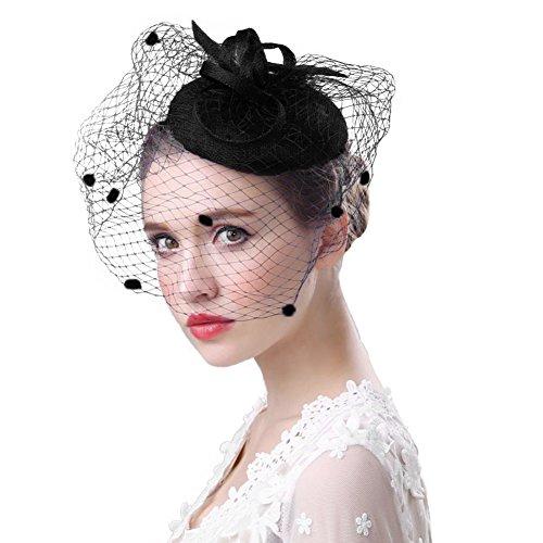 FakeFace Fascinator Hüte 20er 50er Jahre Hut Haar Clip Accessoire Haarreif Kopfbedeckung mit Schleier Cocktail Tea Party Hochzeit Kirche Haarschmuck Kopfschmuck, M, Schwarz