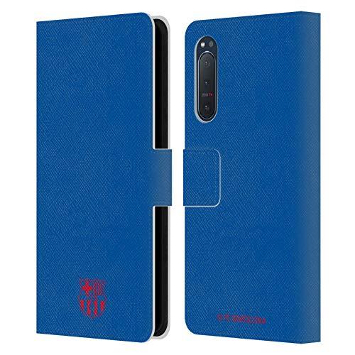 Head Case Designs Licenciado Oficialmente FC Barcelona Azul Crest Patterns Carcasa de Cuero Tipo Libro Compatible con Sony Xperia 5 II 5G