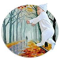 寝室用エリアラグ、子供部屋用の な柔らかくて厚い滑り止めカーペット、保育園のモダンな装飾ラグ2.3フィート、秋の小道の森の風景カラフル