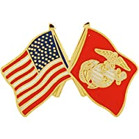 U.S. MARINES, Cross Flag USA & USMC Small - Original Artwork, Expertly Designed PIN - 1""