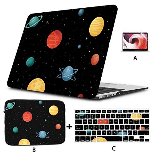 Macbook Air Case 2018 Cartoon Space Shiny Solar System Planet Macbook Accessories 13 Inch Hard Shell Mac Air 11'/13' Pro 13'/15'/16' With Notebook Sleeve Bag For Macbook 2008-2020 Versi