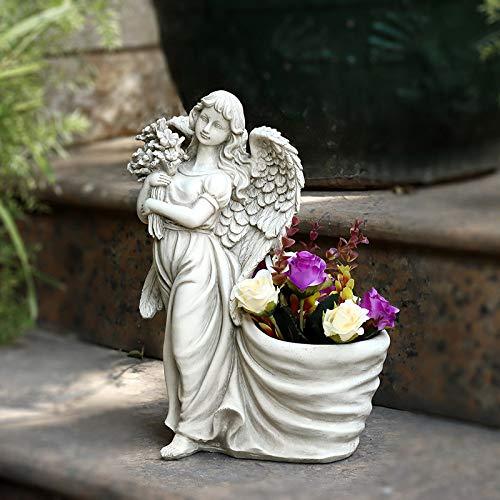 zenggp Angel Hugging Bouquet Ornaments Plant Pot Outdoor Planter Garden Yard Decor Angel Statue,Left