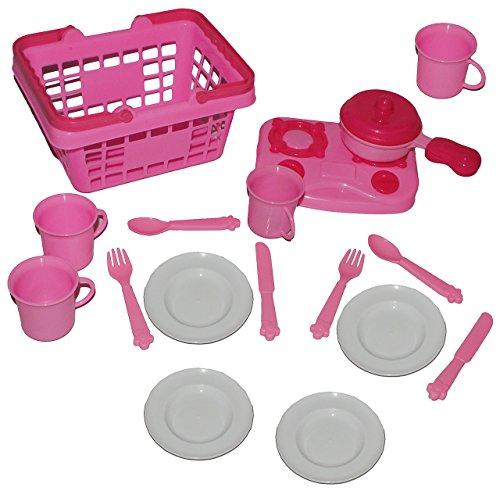 alles-meine.de GmbH 18 TLG. Set Picknick Korb - rosa Kunststoff - Puppengeschirr Geschirr + Tassen + Pfanne / Kochset - Spiel - Küche Zubehör Deko pink - Kinderküche
