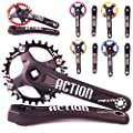 FMFXTR ¡¾US Stock¡¿ 104 BCD 30T Chain Ring Mountain Bike 170mm Square Crankset, Aluminum Alloy MTB Crank Arm Set Narrow Wide CNC Chainring Bolts fit 7-11S KMC Chains Shimano, FSA Gaint